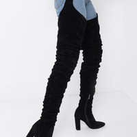 Faux Suede Pointed Toe Ruched Thigh High Belt Loop Boot in Khaki Suede, Black Suede