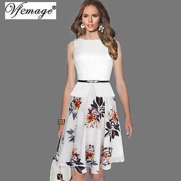 Vfemage Womens Summer Vintage Elegant Belted Polka Dot Chiffon Patchwork Tunic Work Office Party Fit and Flare A-Line Dress 608