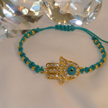 Sparkling Golden Hamsa  Hand Macramed with Gold Beads by GGSparkle