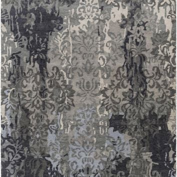 Surya Brocade BRC1010 Grey/Black Medallion and Damask Area Rug