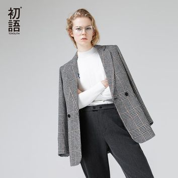 Toyouth Blazers 2017 Autumn Women Fashion Plaid Pattern Single-Breasted All Match Ladies Blazer