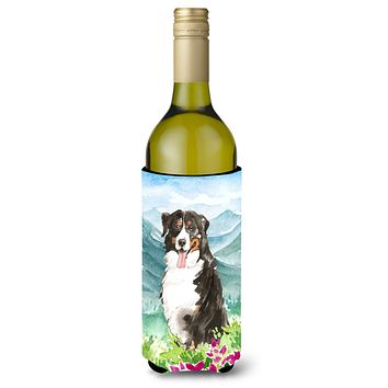 Mountain Flowers Bernese Mountain Dog Wine Bottle Beverage Insulator Hugger CK2547LITERK