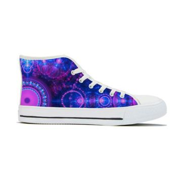 Blue & Pink Fractal - High Top Canvas Shoes