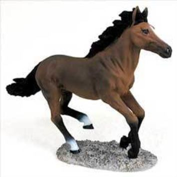 BAY HORSE RUNNING FIGURINE