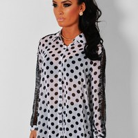 Walnut Whip Monochrome Polka Dot Lace Sleeve Shirt | Pink Boutique