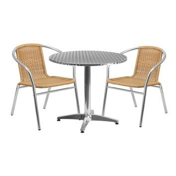 31.5'' Round Aluminum Indoor-Outdoor Table with 2 Beige Rattan Chairs