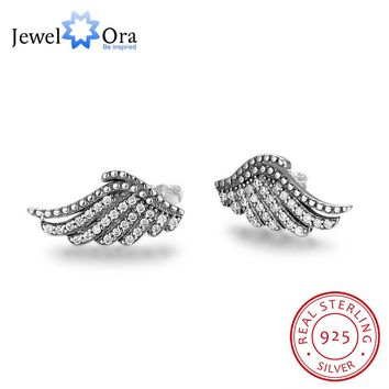 Solid 925 Sterling Silver Stud Earrings Wome Wing Design Angel Wings Wedding Jewelry Earrings Gift to Friend(Jewelora EA101997)