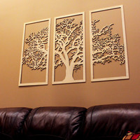 Tree of Life - 3D 3 Panel Tree Wood Wall Art - Beautiful Tree Living Room Large Wall Art Decor