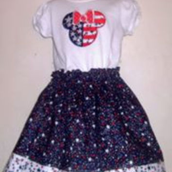Disney Patriotic Minnie Mouse Appliqued T Shirt Dress Available from 12m to 14/16