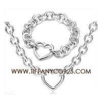 Shopping Cheap Tiffany and Co Silver Link Necklace and Bracelet Set At Tiffanyco925.com - Discount Tiffany Setting