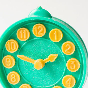 Vintage clock toy plastic table watch for kids play Soviet green watch yellow hands moving