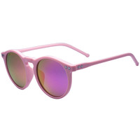 Pink with Star Detail Mirror Lens Round Sunglasses