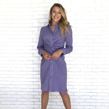 Olympic Stripe Button Up Dress