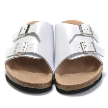 Birkenstock Leather Cork Flats Shoes Women Men Casual Sandals Shoes Soft Footbed Slipp