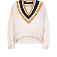 Cameo Rose Cream Cropped Cricket Jumper | New Look
