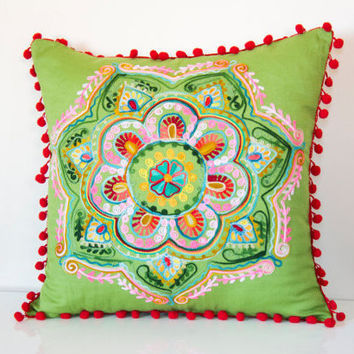 20x20 Inches Green Turkish Round Decorative Pillow, Boho Cushion Cover, Embroidered Pillow, Cotton Pillow Case, Authentic Pillow Cover,Boho