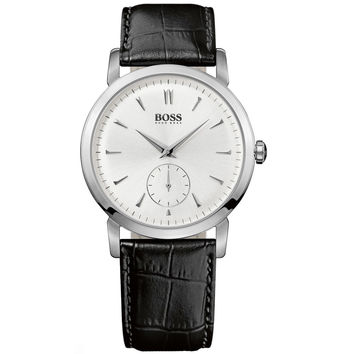 Hugo Boss 1512774 Men's Silver Dial Black Leather Strap Quartz Watch