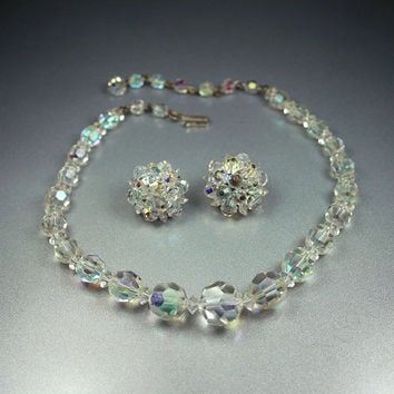 Vintage Laguna Crystal Necklace Earrings Set