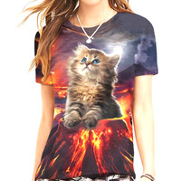 Cat Volcano Women's T-Shirt