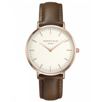 Rose gold ladies watch Bowery - brown leather strap | ROSEFIELD Watches
