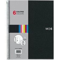 Miquelrius 8.25 X 11.75 A4 Wirebound Notebook, 6-Subject, Graph Paper, Black