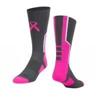 Perimeter 2.0 Awareness Crew Socks (Graphite/Neon Pink/White, Medium)