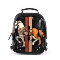 Cute Cartoon Horse Pattern Classic Book Bag Backpack Handbag