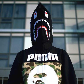 BAPE SHARK  Autumn and winter men and the streets tide brand Cougar shark plus velvet sweater coat