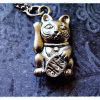 Silver Maneki Neko Lucky Cat of Japan Necklace - Antique Pewter Maneki Neko Charm on a Delicate 18 Inch Silver Plated Cable Chain