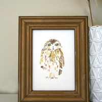 """ON SALE Owl Painting. 4"""" x 6"""" Watercolor Painting.  Illustration. Fine Art. Nature. White. Birds. Gift for Dad. Ready to hang."""