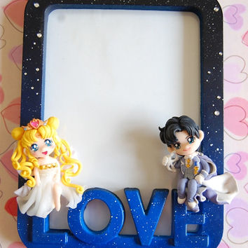 Handmade Sailor Moon picture frame with polymer clay figures