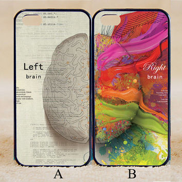 Left and Right Brain,Custom Case, iPhone 4/4s/5/5s/5C, Samsung Galaxy S2/S3/S4/S5/Note 2/3, Htc One S/M7/M8, Moto G/X
