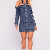 Jacked Up Denim Dress - Denim Blue