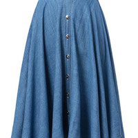 Blue High Waisted Button Denim Skirt