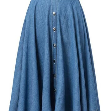 Blue High Waist Button Up Denim Midi Skirt