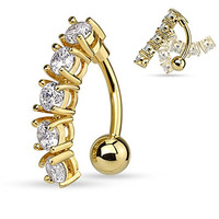 5 CZ Vertical Drop Reverse Belly Button Ring Surgical Steel 14g Top Down Navel Ring (Gold Tone)