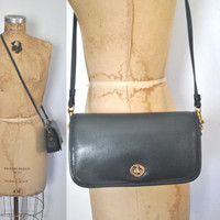 NAVY Leather Purse / shoulder bag