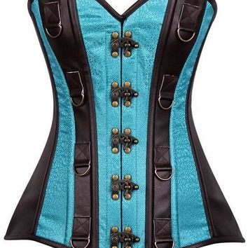 Daisy Corsets Top Drawer Dark Brown Faux Leather & Brocade Steel Boned Corset