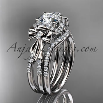 """14kt white gold diamond unique engagement set, wedding ring, bow ring with a """"Forever One"""" Moissanite center stone ADER155S"""