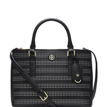 Tory Burch Robinson Perforated Mini Double Zip Tote