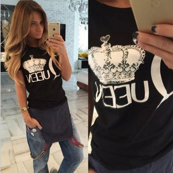 Summer Women's Fashion Black Crown Pattern Print Short Sleeve Tops T-shirts [6343450433]