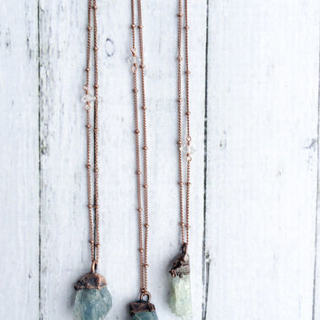 Natural gemstone necklace | Untreated aquamarine jewelry | March birthstone necklace | Raw aquamarine pendant | March birthstone jewelry