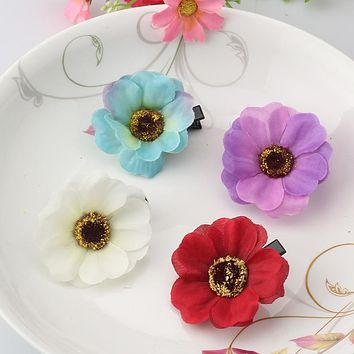 Summer Style Hair Accessories Duckbill Clip Girls Multicolor Flower Hairgrips Women Beautiful Hair Ornaments for Dress