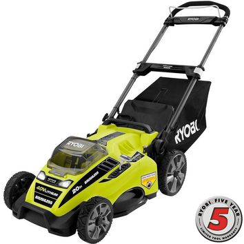 Ryobi 20 in. 40-Volt Brushless Lithium-Ion Cordless Battery Walk Behind Push Lawn Mower - 5.0 Ah Battery and Charger Included-RY40180 - The Home Depot