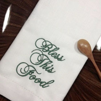 Bless This Food Thanksgiving Embroidered Cloth Dinner Napkins