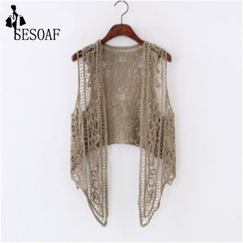 Asymmetric Open Stitch Cardigan Beach Boho Hippie people Crochet Embroidery Blouse sleeveless Vest