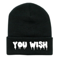 YOU WISH embroidered Beanie by tragicyouth on Etsy