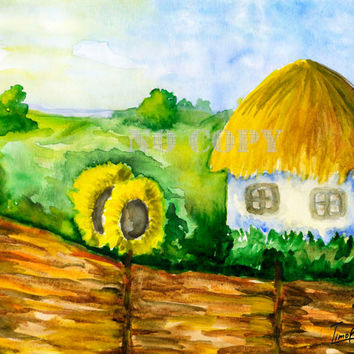 Printable Wall Decor Watercolor Landscape rural  Solar Ukraine sunflower Ukrainian traditions Instant Download in 2 size