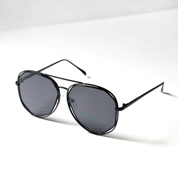 Black Geometric Aviator Sunglasses