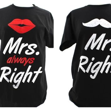 Mr Right &Mrs Always Right Couple T-Shirts. Graphic Printed Letter Short Sleeve